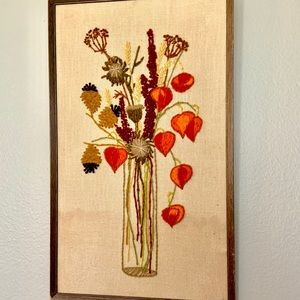 Vintage Chinese Lanterns Crewel Embroidery